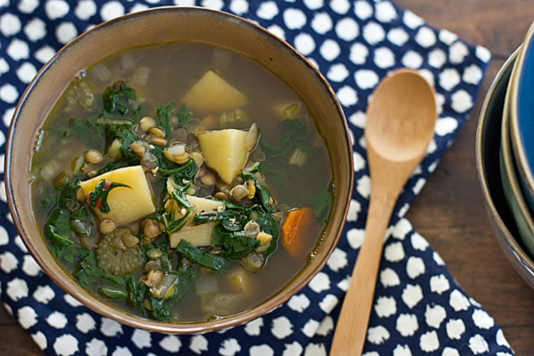 Slow cooker chard and lentil soup