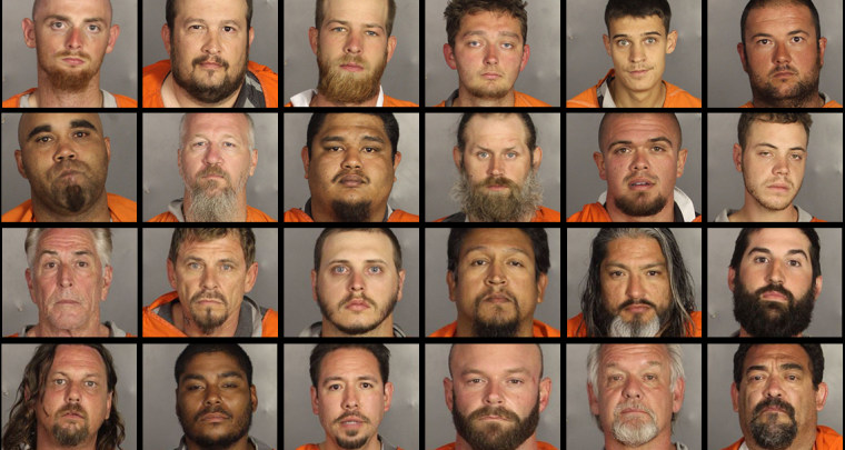 Some of the suspects arrested after shootings involving biker gangs in Waco, Texas.