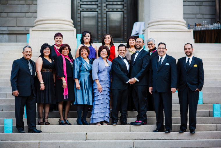 A family wedding photo of Ruben Gonzales and Joaquin Tamayo, both Mexican American, on Nov. 5, 2011 in Washington, D.C Credit: Vero Image