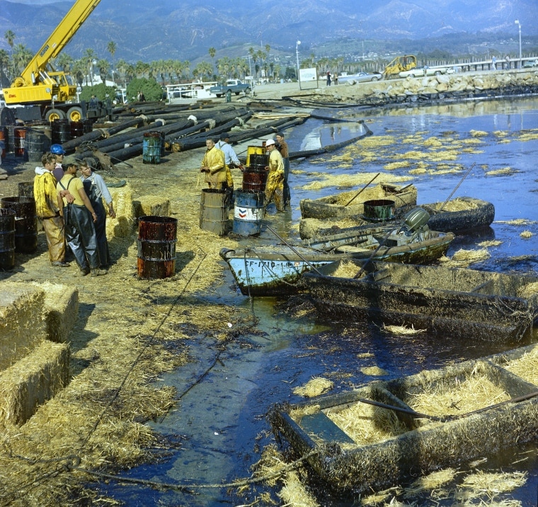 Workmen using pitchforks, rakes and shovels attempt to clean up oil-soaked straw from the beach at Santa Barbara Harbor, Calif., Feb. 7, 1969.
