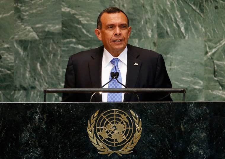 Former Honduras President Porfirio Lobo Sosa addresses 67th United Nations General Assembly at U.N. headquarters in New York