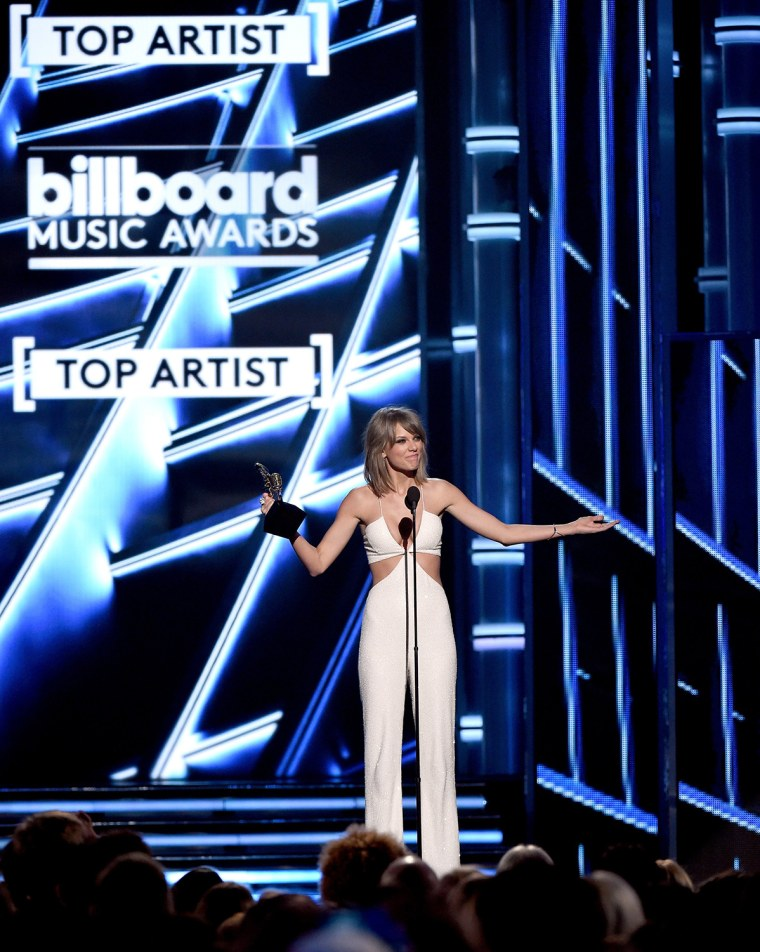 Taylor Swift accepts the Top Artist award onstage during the 2015 Billboard Music Awards