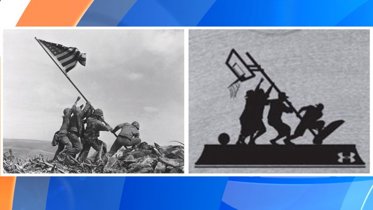 The iconic photo of the flag raising at Iwo Jima, and a contentious basketball-themed t-shirt from Under Armour