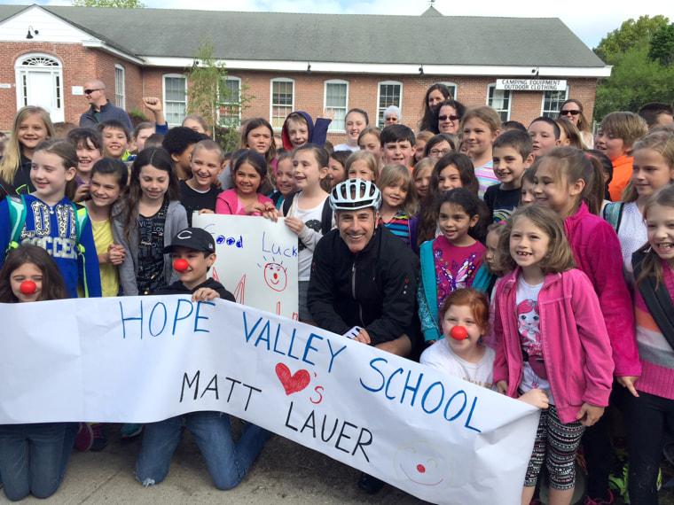 School kids support Matt Lauer's Red Nose Day bike ride