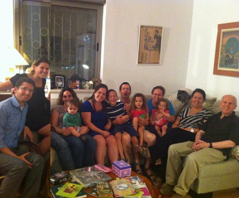 Professor Sydney Engelberg, on far right, shown with his wife, children and grandchildren.