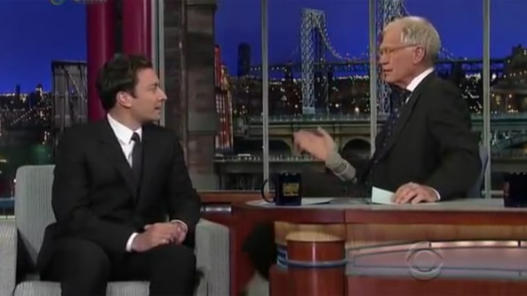 Jimmy Fallon with Dave Letterman