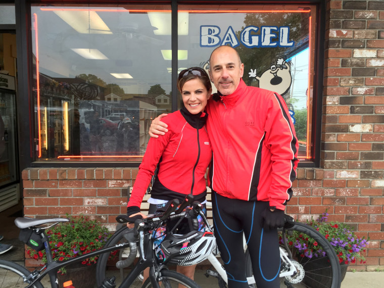 Natalie Morales joins Matt Lauer on the Red Nose bike ride