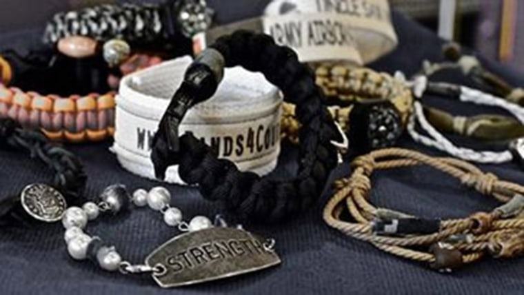 Military mom supports troops with bracelets made from uniforms.