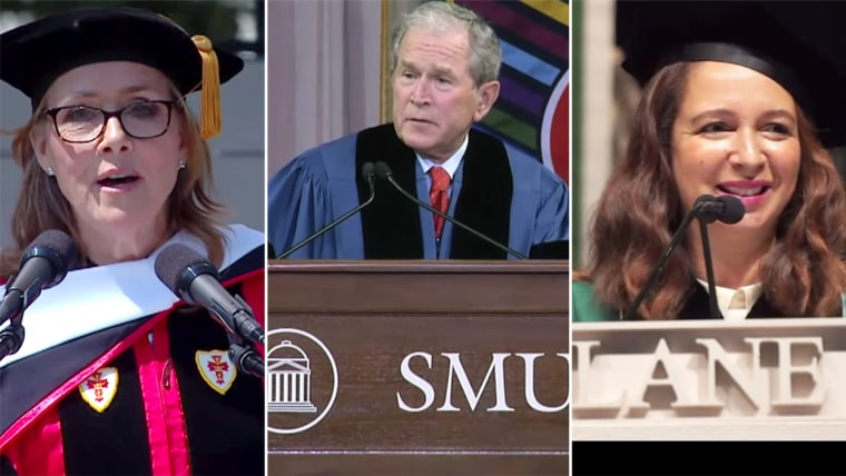 Commencement speeches by Meredith Viera at Boston University, George W. Bush at SMU and Maya Rudolph at Tulane