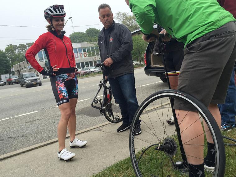 Natalie Morales gets a flat tire
