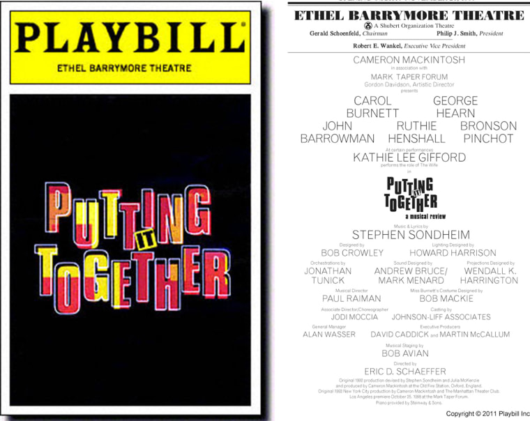 Playbill Cover for Putting It Together at Ethel Barrymore Theatre
