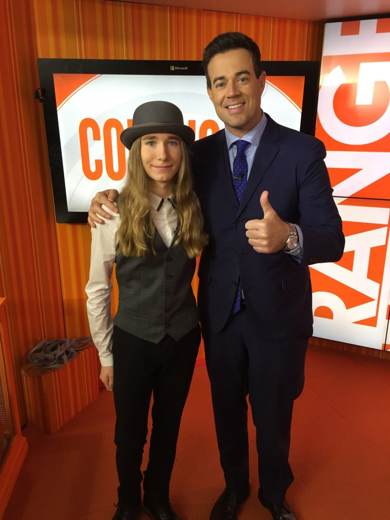 "Carson Daly and ""Voice"" winner Sawyer Fredericks"