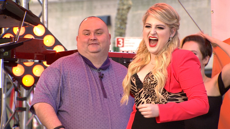 """Meghan Trainor dances with """"Dancing Man,"""" Sean from London, of social media fame, on the TODAY plaza"""