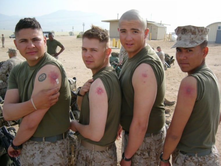 Current Arizona Democratic congressman Ruben Gallego, seen here second from left, while he was deployed in Iraq in 2005.