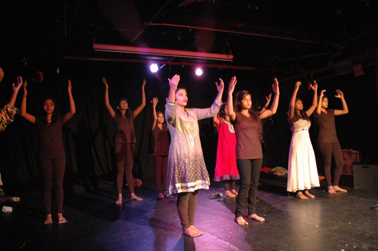 "Kranti girls perform their play ""Lal Batti Express"" about their lives in the red-light district in Mumbai at the WOW Cafe Theatre in New York.