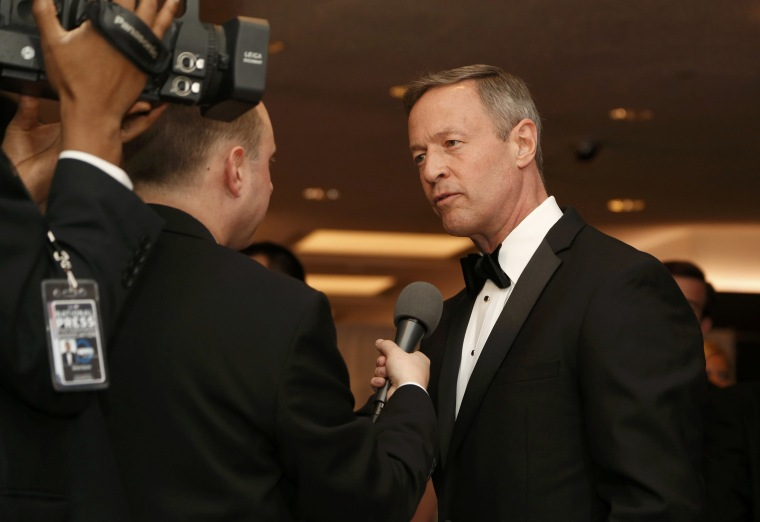 Image: Former governor of Maryland Martin O'Malley speaks to the media as he arrives for the annual White House Correspondents' Association dinner in Washington