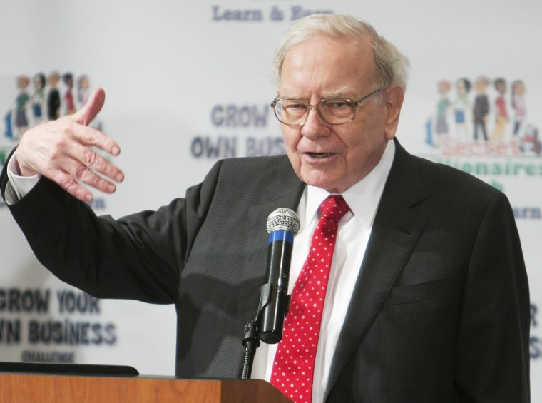 Image: Warren Buffett speaks at his Secret Millionaires Club Grow Your Own Business Challenge in Omaha