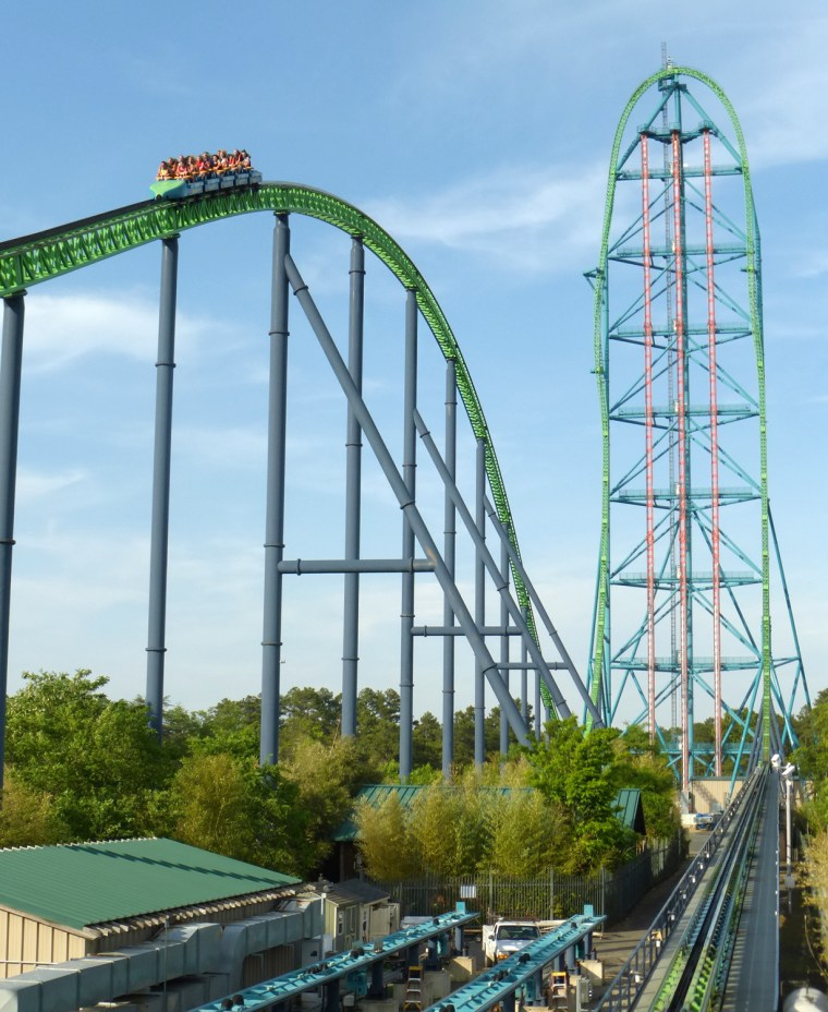 The Kingda Ka roller coaster at Six Flags Great Adventure & Safari in Jackson, New Jersey