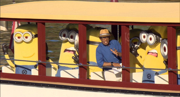 Al Roker on a boat with minions in Orlando