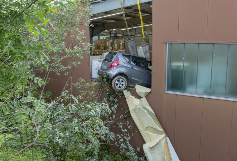 The Mercedes crashed into a building in Markgroeningen, Germany, on Saturday.