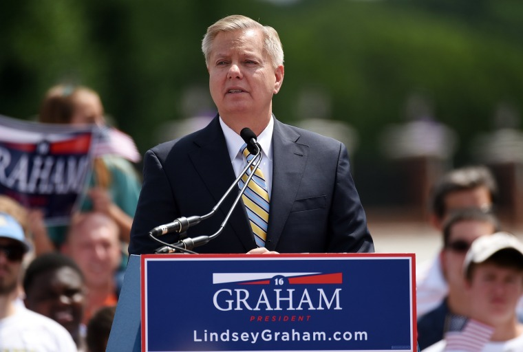 Sen. Lindsey Graham, R-S.C.  announces his bid for presidency, Monday, June 1, 2015, in Central, S.C. (AP Photo/Rainier Ehrhardt)
