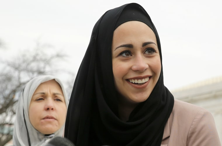 Image: File photo of Muslim woman Samanth Elauf standing with her mother Majda outside the U.S. Supreme Court in Washington