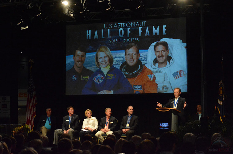 The four 2015 U.S. Astronaut of Fame inductees — Kent Rominger, Rhea Seddon, Steve Lindsey and John Grunsfeld (pictured with Hoot Gibson) — are the 14th class of space shuttle veterans to be added to the Hall, bringing the total members to 91.