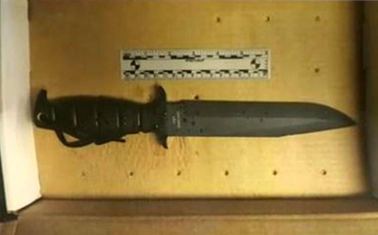 Boston police show the knife taken from Usaama Rahim on June 2, 2015. Rahim was shot twice by police and FBI agents who were questioning him as part of a terrorism investigation.