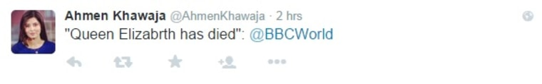 """This incorrect tweet was """"swiftly"""" deleted, the BBC said."""