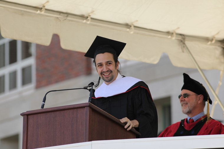Lin-Manuel Miranda, who received an Honorary Doctorate of Humane Letters from his alma mater, Wesleyan University, deliverered its Commencement address on May 24, 2015.