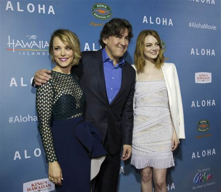"""Director of the movie Cameron Crowe poses with cast members Rachel McAdams (L) and Emma Stone at a special screening of """"Aloha"""" in West Hollywood, California May 27, 2015. The movie opened in the U.S. on May 29."""