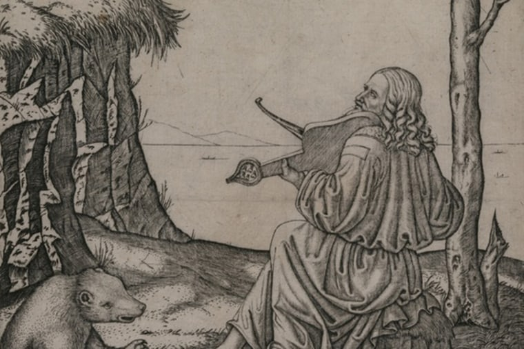This engraving, created by Marcantonio Raimondi around 1505, may show Leonardo da Vinci playing an instrument called a lira da braccio.