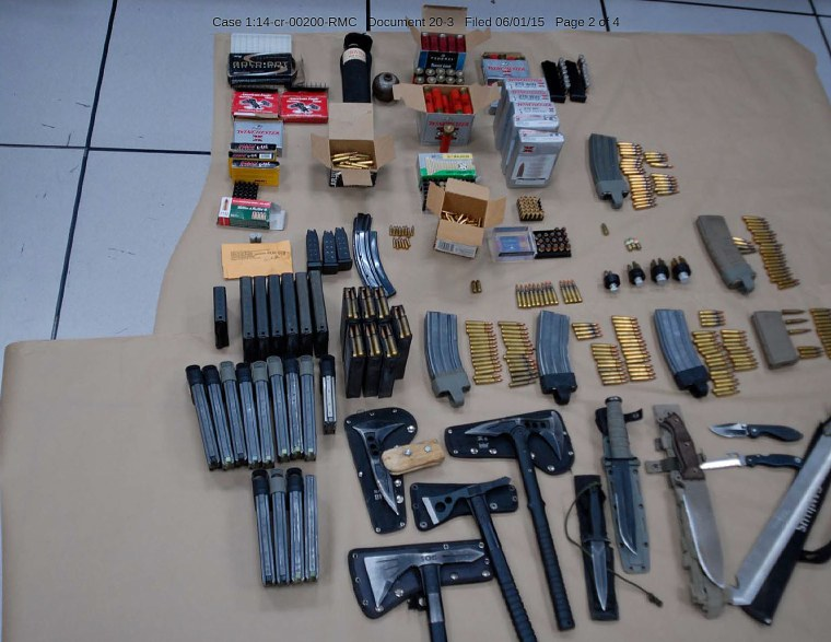 Ammunition and weapons found in the vehicle of Omar Gonzalez after he was apprehended for jumping a fence at the White House.