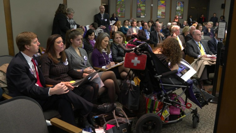 The families attend a Virginia General Assembly committee hearing in Richmond, Virginia.
