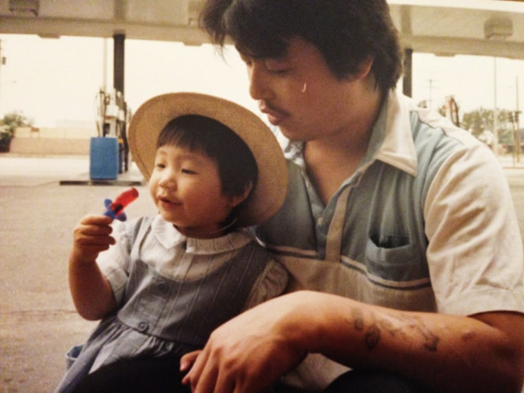 Diana Kim with her father, 1988.