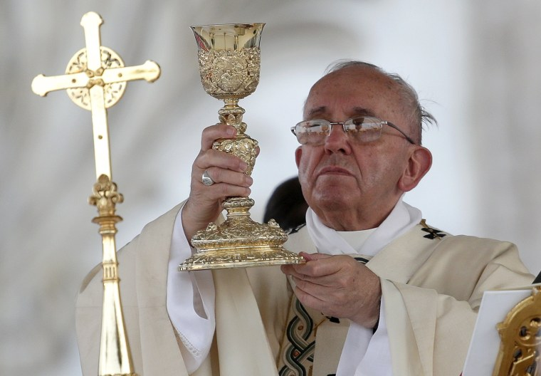 Image: Pope Francis celebrates mass during feast of Corpus Christi (Body of Christ) at St. Giovanni in Laterano Basilica in Rome