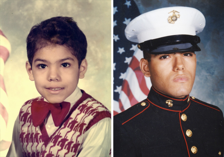 Writer and editor Oriol Gutierrez, Jr. in first grade and as a 22-year-old U.S. Marine Corps reservist.