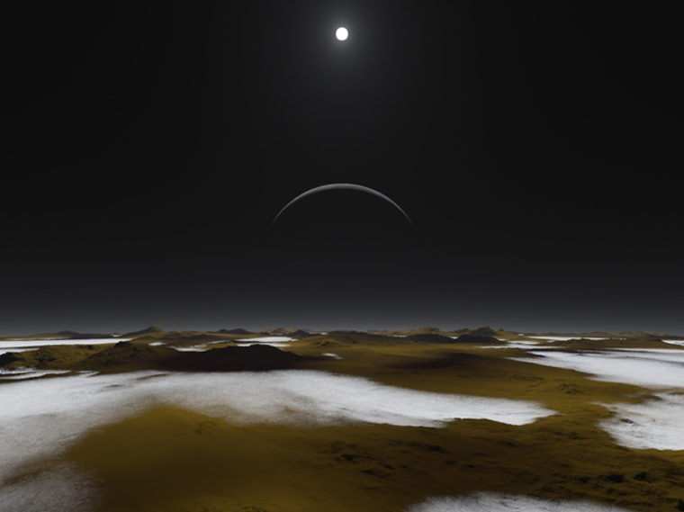 Just how dim is the sunlight on Pluto, 3 billion miles away? This artist's concept of the frosty surface of Pluto with Charon and our sun as backdrops illustrates that while sunlight is much weaker than it is here on Earth, it isn't as dark as you might expect. You could read a book on the surface of Pluto at noon.