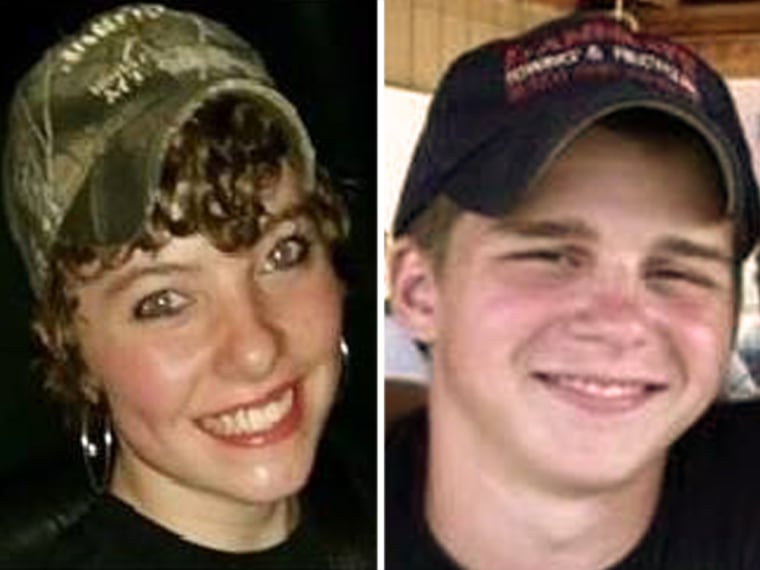 Rose May, 15, left, and Triston Kindle, 16, are suspects in connection with the armed robbery of a BP gas station in Pennsylvania.