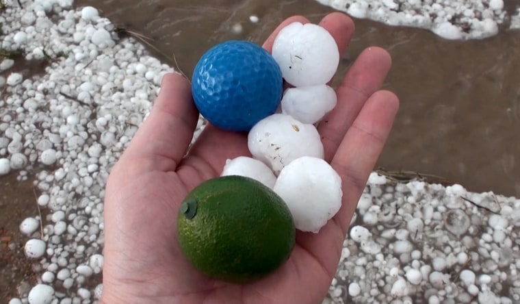 Golf ball-size hail in Stratton, Colorado, on Saturday.