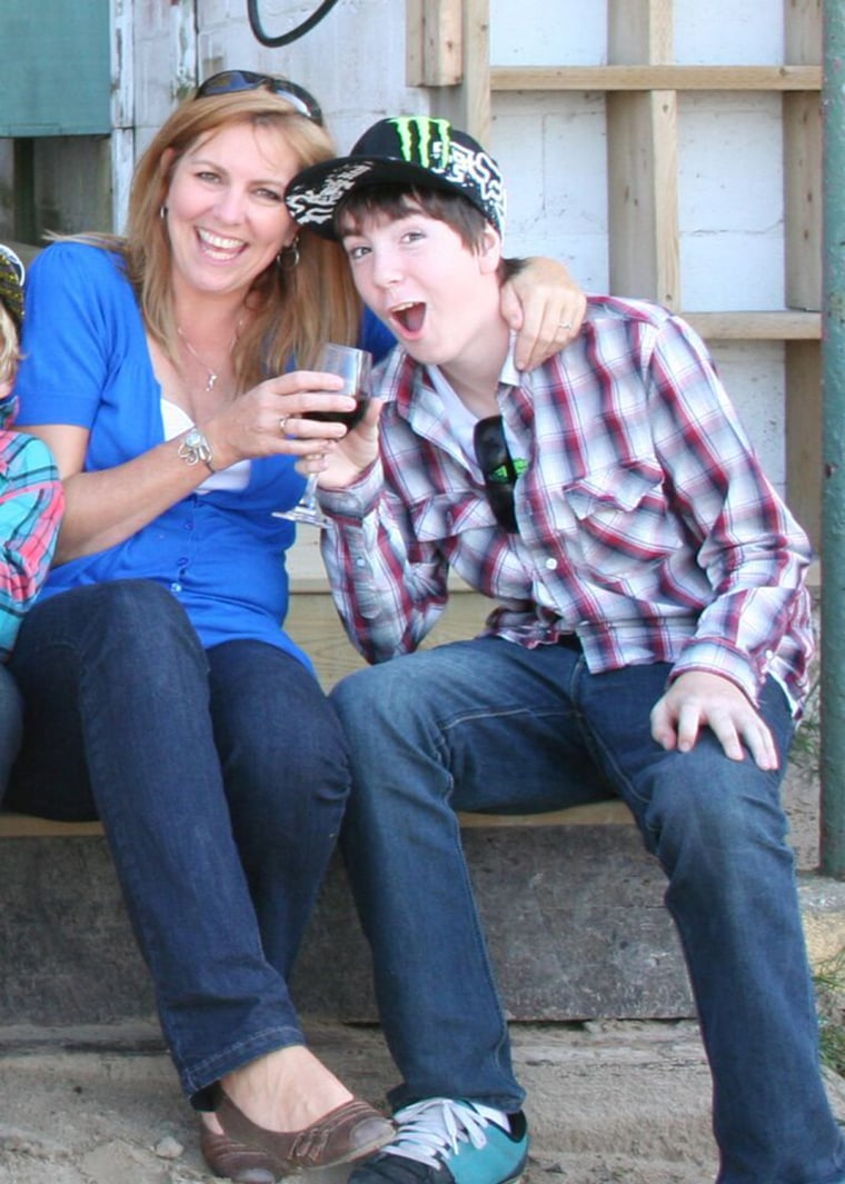 Kim LeBlanc and son, Tyler, who was killed in an accident at the age of 18