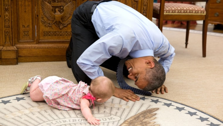Obama and Ella Harper Rhodes in oval office