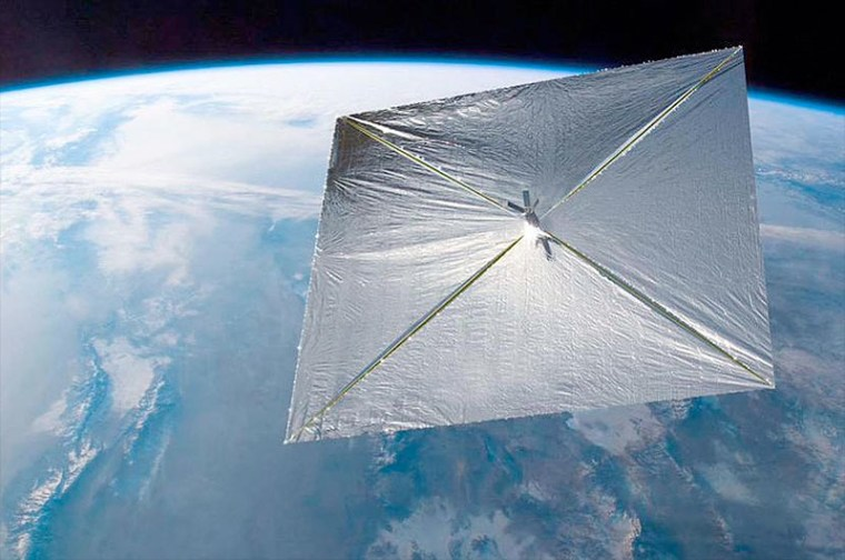 Image: Artist's illustration of LightSail CubeSat in orbit