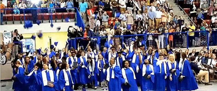 Graduates at Senatobia High School in Mississippi.