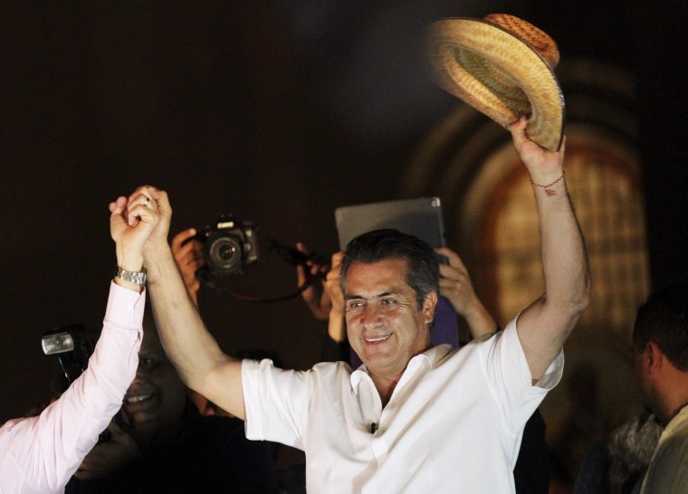 Image: Jaime Rodriguez, independent candidate for governor of Nuevo Leon state, celebrates his victory after midterm elections in Monterrey