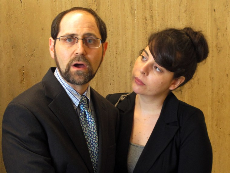 "Convicted child molester Jesse Friedman, left, the subject of a 2003 Oscar-nominated documentary,""Capturing the Friedmans,"" speaks to reporters after a judge ordered the release of grand jury testimony and witness statements relating to his 1988 prosecution. At right is Friedman's wife, Lisabeth Walsh."