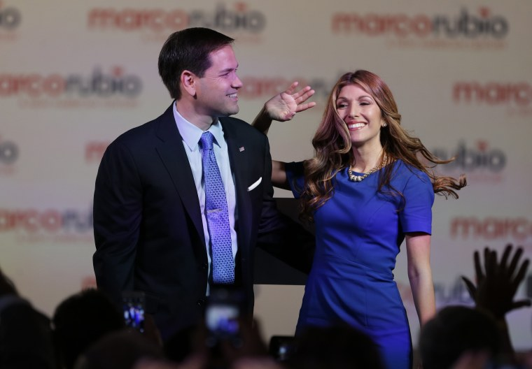 In this photo taken April 13, 2015, Sen. Marco Rubio, R-Fla., and his wife Jeanette acknowledge the crowd after he announced that he will be running for the Republican presidential nomination, in Miami.