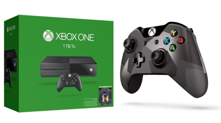 The new 1 TB Xbox One and updated controller (not shown to size).
