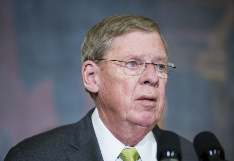 Sen. Johnny Isakson, R-Ga., speaks during a ceremony in the Capitol on Feb. 10, 2015.