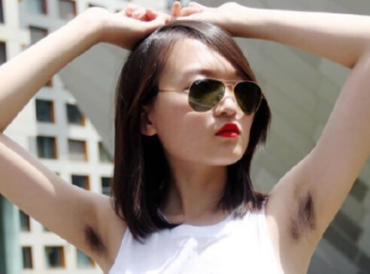 A contestant's submission to Xiao Meili's armpit hair photo contest.